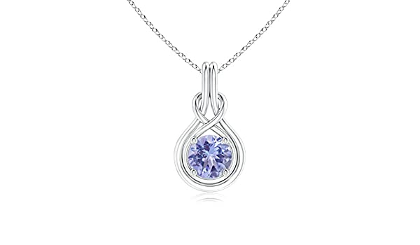 Angara 8mm Sapphire Knot Necklace in 14k White Gold