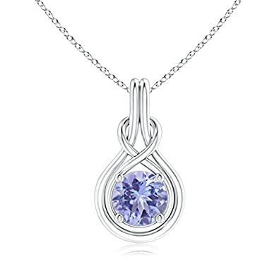 Angara 8mm Sapphire Knot Necklace in 14k White Gold 5fqNchgz