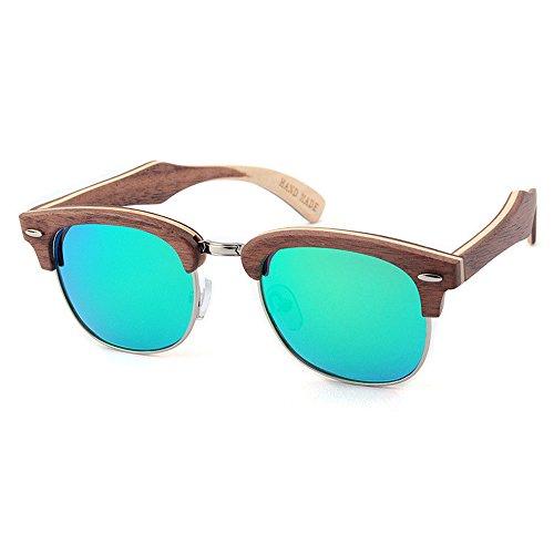 Couleur de Vert UV femmes protection Lunettes KOMEISHO couleur pour en main la hommes Noir à bois soleil lentille Rimless Semi 5xT4wHA