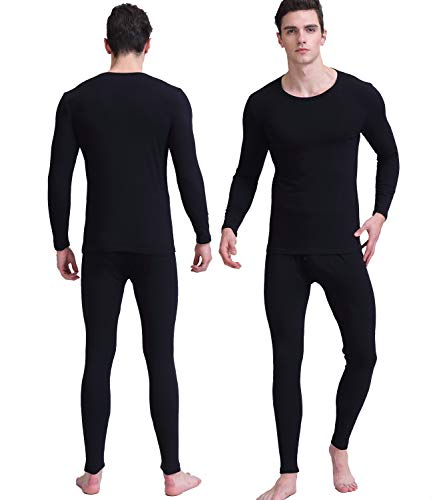 Thermal Underwear for Men, Pure Cotton Lightweight Base Layer Long Underwear Set for Winter Outside and Inside (Black, L) ()