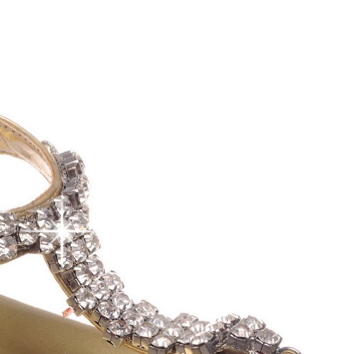 and Low 8 Open Diamond US with Thong Glass Gold Solid Toe Sandals Soft M PU B Buckle Material Womens WeenFashion Heel q6gxtt