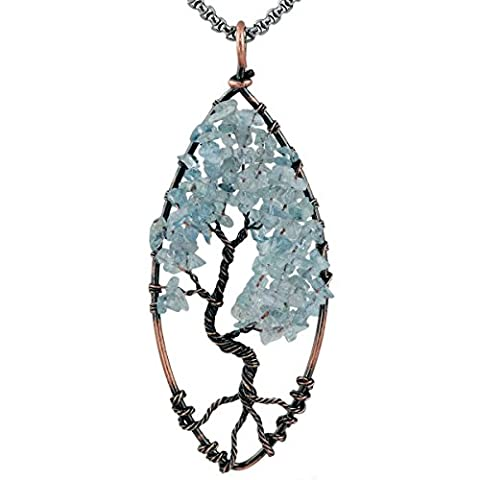 SUNYIK Aquamarine Tree of Life Pendant,Tumbled Stone Oval Wire Wrapped Necklace,Healing Chakra - Life Pendant Wire