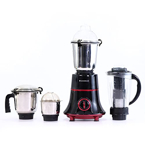 Wonderchef Glory Mixer Grinder, 750 W With 4 Stainless Steel Jars And Anti-Rust Stainless Steel Blades, Ergonomic Handles, 5 Years Warranty On Motor