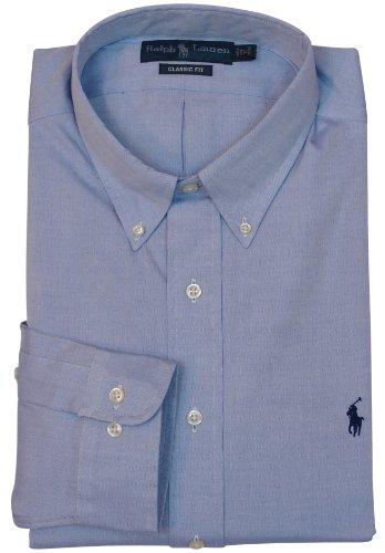 Polo Ralph Lauren Mens Long Sleeve Classic Fit Button-Down Dress Shirt - Blue - 17.5 34/35