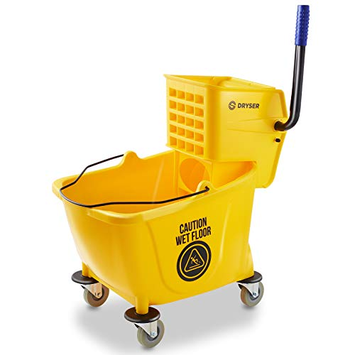 Dryser Commercial Mop Bucket with Side Press Wringer, 33 Quart, Yellow