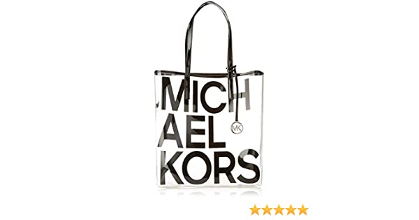 63ceab7899861c Amazon.com: Michael Michael Kors Hayley Clear Large North South Tote Bag in  Black: Clothing