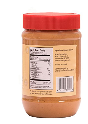 Brad's Organic Crunchy Peanut Butter, 18 Ounce (Pack of 12)