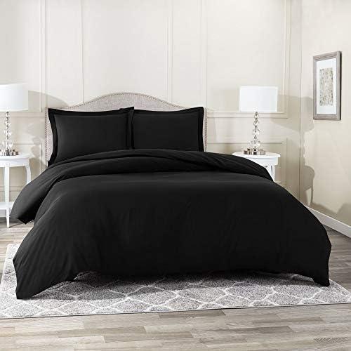 Nestl Bedding Duvet Cover, Protects and Covers your Comforter/Duvet Insert, Luxury 100% Super Soft Microfiber, King Size, Color Black, 3 Piece Duvet Cover Set Includes 2 Pillow Shams