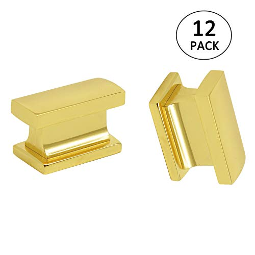 Gold Cabinet Knobs 12 Pack Rectangle Drawer Knob and Pulls Polished Brass - Modern Kitchen Cabinet Hardware Cabinet Handles Single Hole 1 2/5inch Length ()
