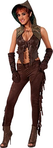 Ladies Fancy Party Dress Medieval Fighter Sexy Elf Hunter Costume Outfit Brown (Sexy Hunter Costume)