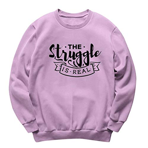 sheart 9 Women's Sweatshirt Plus Size Round Neck Winter Long Sleeve Tunic Tops Casual Loose Fit Comfy Pullovers Coat Purple