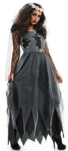 Ladies Zombie Dead Corpse Long Length Bride Halloween Fancy Dress Costume Outfit 8-30 Plus Size (UK 12-14) Black -