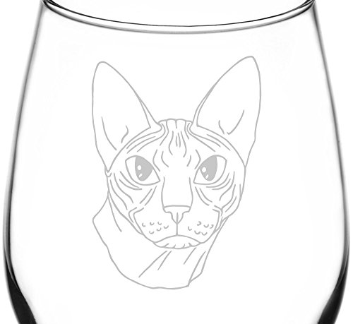 (Don Sphynx) Realistic Cat Breed Face Inspired - Laser Engraved 12.75oz Libbey All-Purpose Wine Taster Glass ()