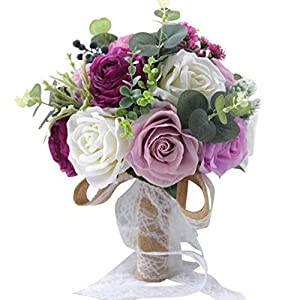 ZTXY Wedding Bouquets Bridal Bouquet White Purple Pink Artificial Fake Rose Flower Bridesmaid Wedding Decoration Bouquets for Wedding Photo Shooting 120