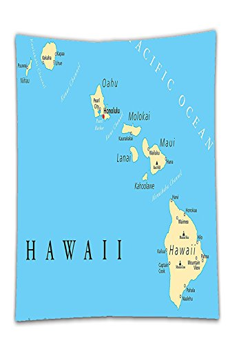 Interestlee Satin drill Tablecloth?Hawaiian Decorations Collection Map of Hawaii Islands with Capital Honolulu Borders Important Cities and Volcanoes Image Blue Dining Room Kitchen Rectangular Table (Infants Bahama Sequins)