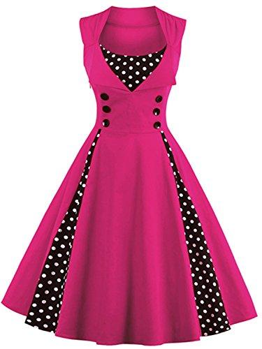 Women Vintage Church Dresses Short Modest Wedding Dress,Fuchsia,2XL -