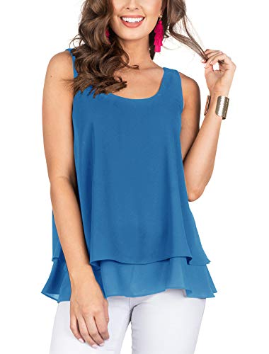 Floral Find Women's Chiffon Layered Tank Tops Summer Sleeveless Round Neck Blouses Shirts (Small, X-Blue) ()