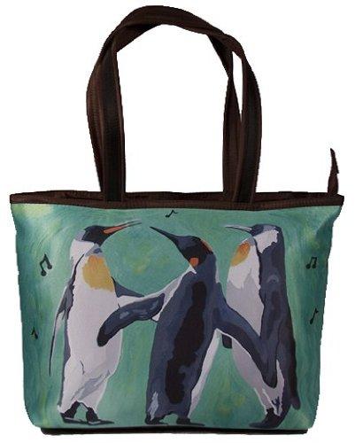 Penguin Shoulder Bag, Vegan Tote Bag - Animal Prints - Fr...