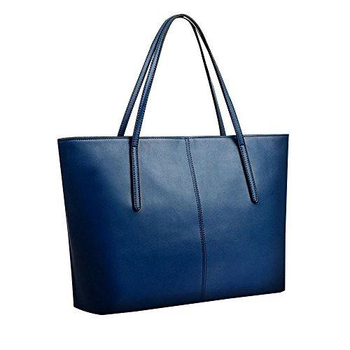 Women Handbag,Women Bag,KINGH Large Vintage PU Leather Simple Design Handbag 033 Blue