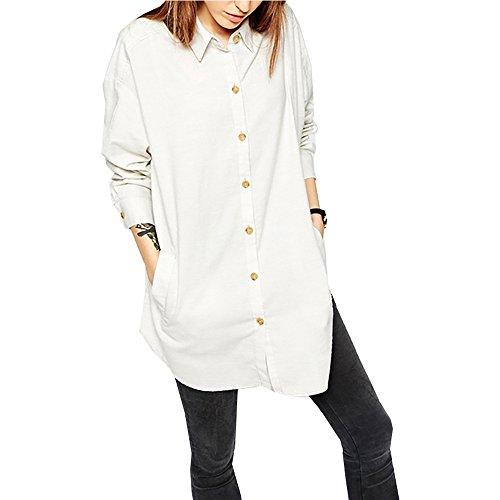 Eiffel Women's Blouse Loose Casual Button-down Cuffed Sleeve Office Straight Boyfriend Shirt Tops White
