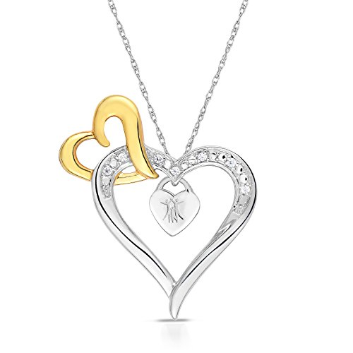 BLOWOUT SALE City of Hope 14K Yellow Gold Plated Sterling Silver Diamond Three Hearts of Survival Necklace (1/20 cttw, 18-19 Inch)