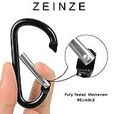 """ZEINZE Carabiner Clip 3"""" Aluminum D-Ring Spring"""
