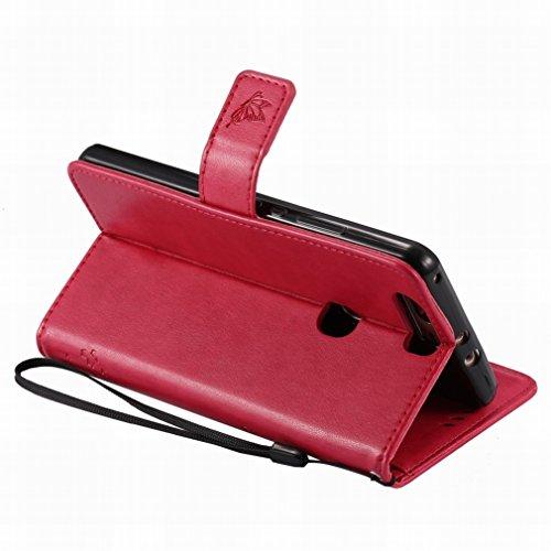 Custodia Huawei Honor V8 Cover Case, Ougger Alberi Gatto Printing Portafoglio PU Pelle Magnetico Stand Morbido Silicone Flip Bumper Protettivo Gomma Shell Borsa Custodie con Slot per Schede (Rose Ross