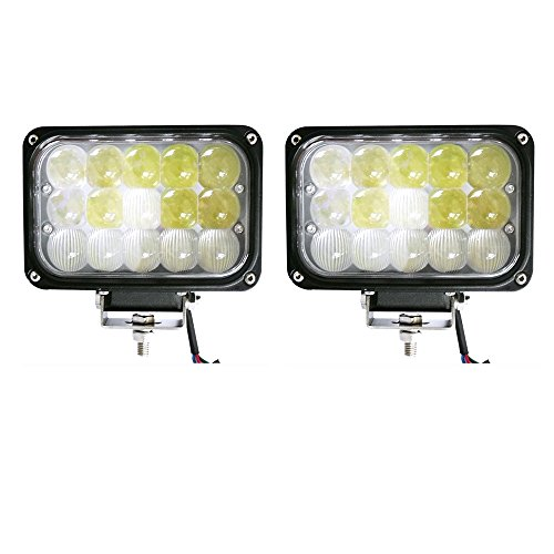 [Ourbest 45W Rectangular 4D chips 4 x 6 led Headlights Bulbs Replacement HID Xenon Kit headlamp H4651 H4652 H4656 H4666 H6545 With H4 Plug Hi/Low Beam Lens Car Driving pack of 2] (Rectangular Chip)
