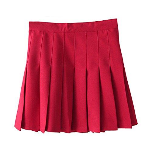 (TZSJGL Girls Sports High Waist Pleated Skirts Underpants Cheerleader Teen Tennis Scooters Skirts (S, Red))