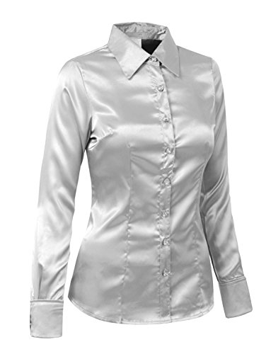 J. LOVNY Womens Light Weight Long Cuff Sleeve Button Down Satin Shirt S-3XL -