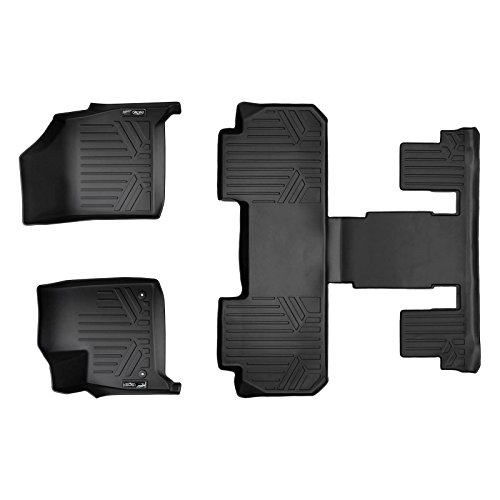 SMARTLINER Floor Mats 3 Row Liner Set Black for 2018-2019 Buick Enclave with 2nd Row Bucket Seats