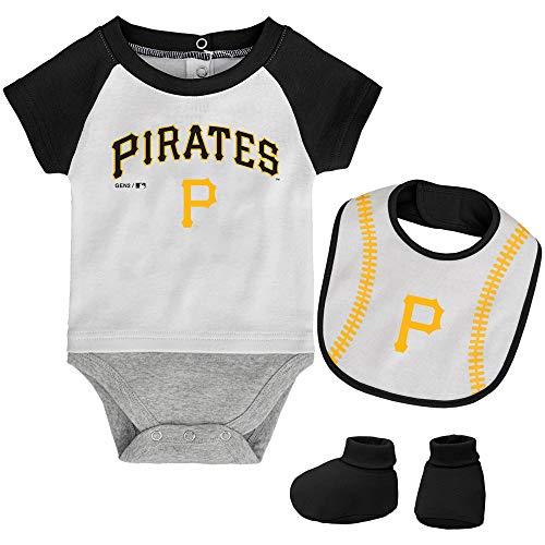 MLB Newborn Baseball Kid Bodysuit, Bib & Booties Set - White (0/3 Months, Pittsburgh Pirates)