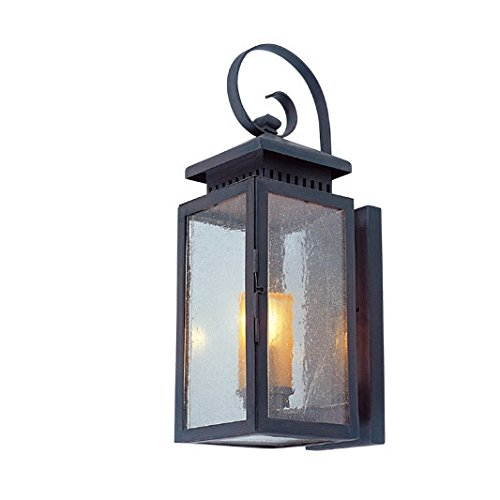 Cocoweb Navan Outdoor Hanging Wall Lantern | LED Light Bulb Included | Clear Seeded Glass - Large (Patina Large Outdoor Hanging)