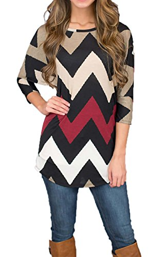 DREAGAL Womens Wave Striped Zig Zag V Neck Chevron Print