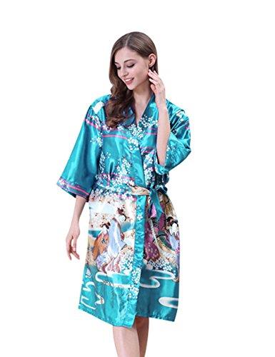 CUKKE Luce Kimono Indumenti Donna da Damigella Accappatoio Notte d'onore blu Robe da rOrxq1fv