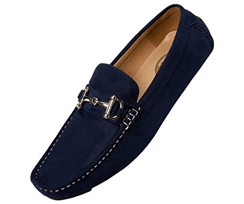 (Amali Mens Plush Microfiber Faux Suede Slip On Loafer Driving Shoe with Buckle Style Walken)