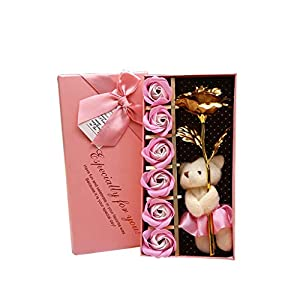 Basde Gold Plated Long Stem Rose Flower with Premium Crystals Gold Plated with Premium Crystals Great Gifts, for Anniversary Birthday Christmas Valentine's Day Mother's Day Wedding (Pink) 1