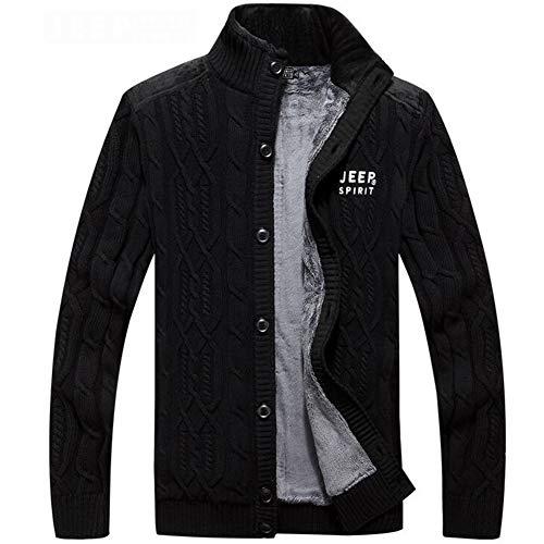 Single Cardigan (Men's Cardigan Coat, Cotton Standing Collar Sweater Men's Autumn and Winter Zip Top Single-Breasted Cardigan Men's Sweater (Color : Black, Size : XXXL))