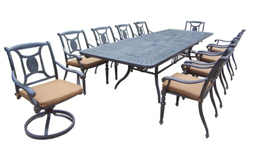 Oakland Living Victoria 11-Piece Set with 84 to 126-Inch by 44-Inch Extendable Table, 8 Stackable Chairs, 2 Swivel Rockers and Sunbrella Cushions Review