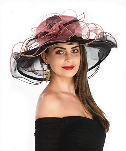 SAFERIN Women's Organza Church Kentucky Derby Fascinator Bridal Tea Party Wedding Hat (GZ-Black and Pink) ()