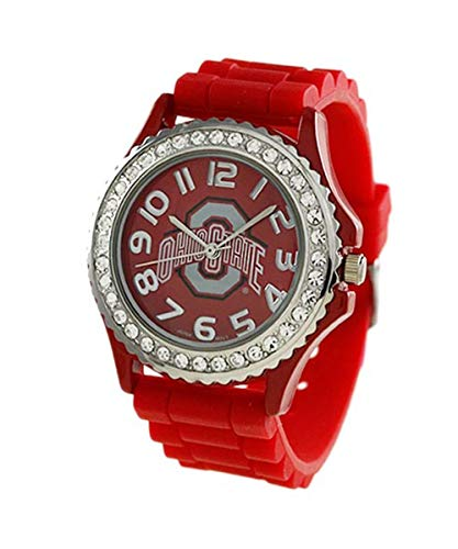 - Ohio State University Buckeyes Licensed Collegiate Analog Watch with Crystals, Rubber Strap and Japanese Movement 38mm