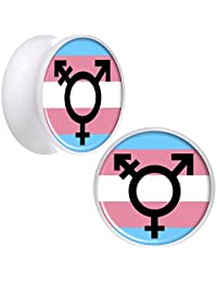 Body Candy White Acrylic Transgender Flag Saddle Ear Gauge Plug Set