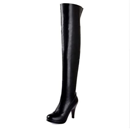 9cdbb11c298f Amazon.com  ODOKAY Women Thigh High Boots Sexy High Heel Soft PU Leather  Over-The-Knee Boots Sexy Black Brown Long Shoes  Sports   Outdoors