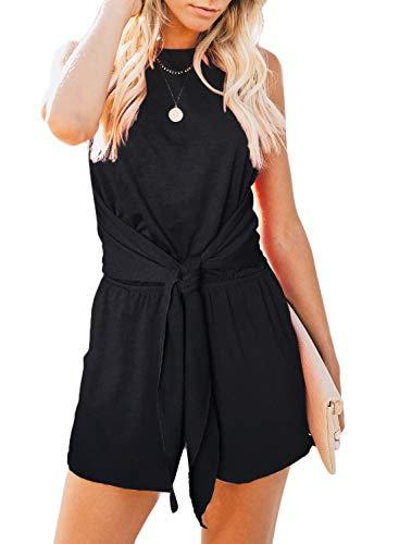 ZESICA Women's Summer Sleeveless Halter Neck Solid Color Knot Front Short Jumpsuit Romper with Pockets Black