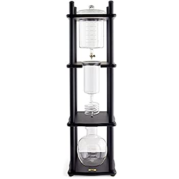 Yama Glass 25 Cup Cold Drip Maker Straight Black Wood Frame