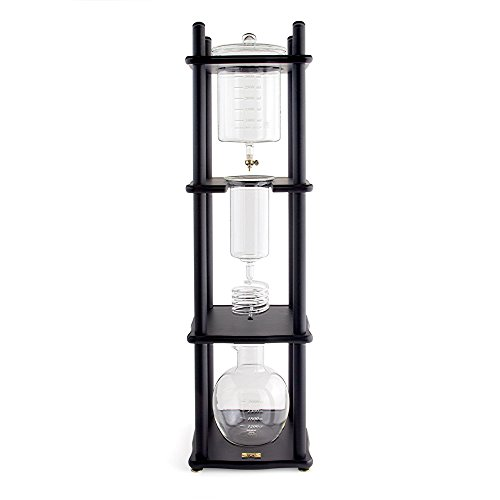 Yama Glass 25 Cup Cold Drip Maker Straight Black Wood Frame Coffee Store
