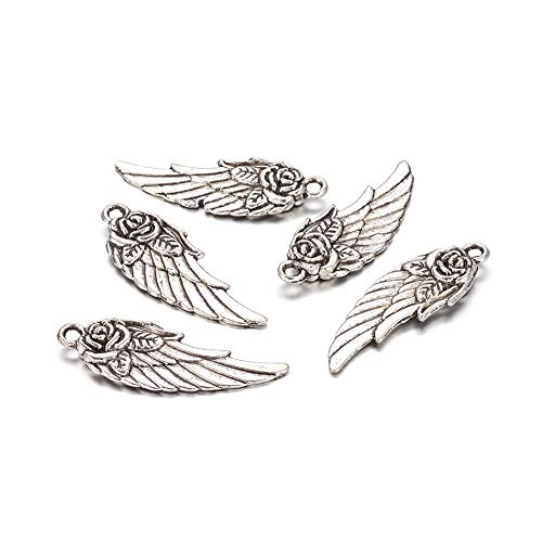 Kissitty 20Pcs Antique Silver Rose Flower Carved Detailed Wing Charms 30x11mm Tibetan Metal Feather Pendants Nickel Free & Lead Free for DIY Jewelry Craft Making from Kissitty