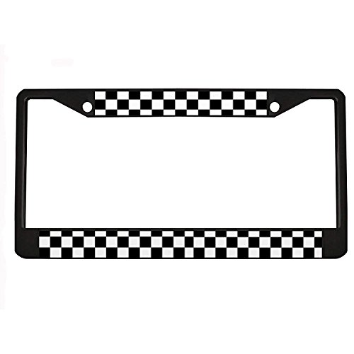 - Jesspad - Black & White Checkerboard - Aluminum License Plate Frame, License Tag Holder,Auto Frame Cover Grill