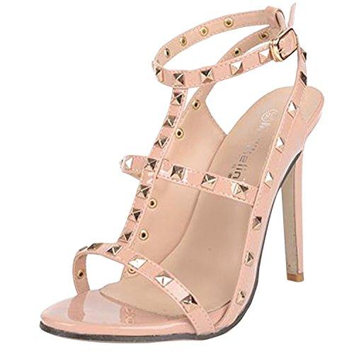 Studded Rivet Toe Beauty Open D2C Ankle Stiletto Sandals Heel Strap apricot Women's High w1x0nTTXqY