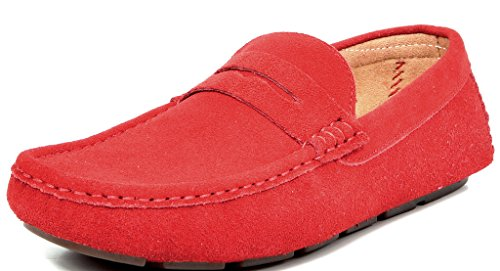 Bruno MARC MODA ITALY LANE-01 Men's Classy Slip On Driving Loafers Casual Suede Boat Moccasins Shoes RED SIZE 10.5